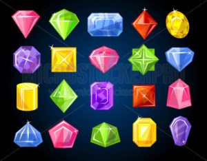 Diamond and sapphire gemstones colorful set on dark background - Vector illustrations for everyone | Microstocker.Pro