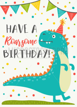 Dinosaur character Happy Birthday greeting card - Vector illustrations for everyone | Microstocker.Pro