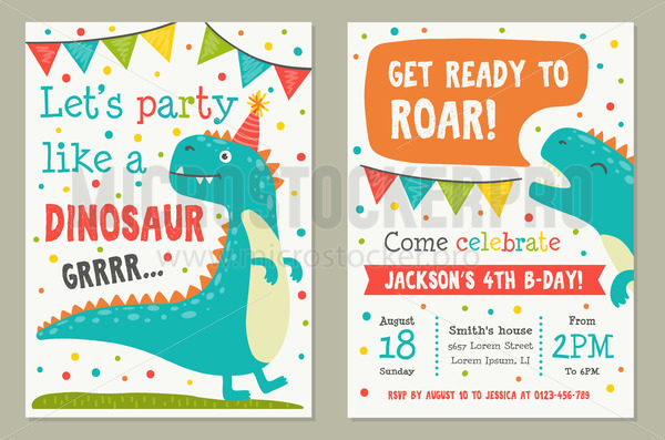 Dinosaur toy party invitation card template - Vector illustrations for everyone | Microstocker.Pro