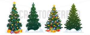 Festive Christmas trees in cartoon style set - Vector illustrations for everyone | Microstocker.Pro