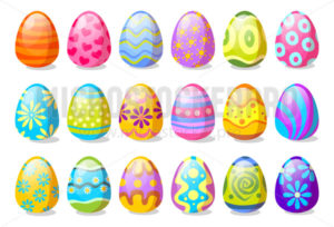 Festive decorated Easter eggs collection - Vector illustrations for everyone | Microstocker.Pro