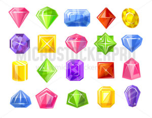 Gemstones colorful set isolated on white - Vector illustrations for everyone | Microstocker.Pro