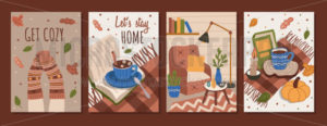 Get cozy, lets stay home autumn cards set - Vector illustrations for everyone | Microstocker.Pro