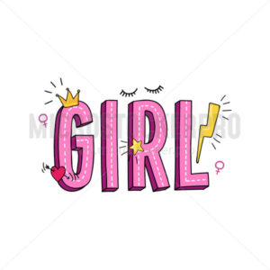 Girl inscription in pink color with doodles - Vector illustrations for everyone | Microstocker.Pro