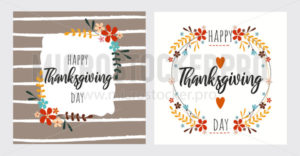 Happy thanksgiving day greeting card set - Vector illustrations for everyone | Microstocker.Pro
