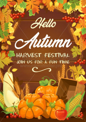 Harvest festival greeting or invitation card - Vector illustrations for everyone | Microstocker.Pro