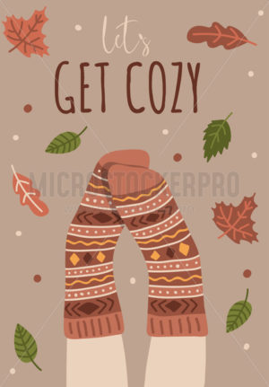 Lets get cozy card or poster with warm socks - Vector illustrations for everyone | Microstocker.Pro