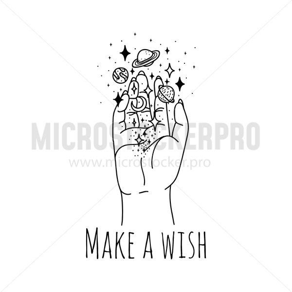 Make wish linear hand holding stars and planets - Vector illustrations for everyone | Microstocker.Pro
