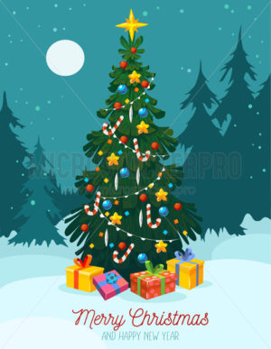 Merry Christmas and Happy New year greeting card - Vector illustrations for everyone | Microstocker.Pro