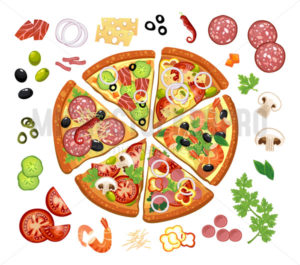 Pizza constructor with different ingredients - Vector illustrations for everyone   Microstocker.Pro