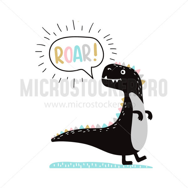Poster of cute dino in scandinavian style - Vector illustrations for everyone | Microstocker.Pro