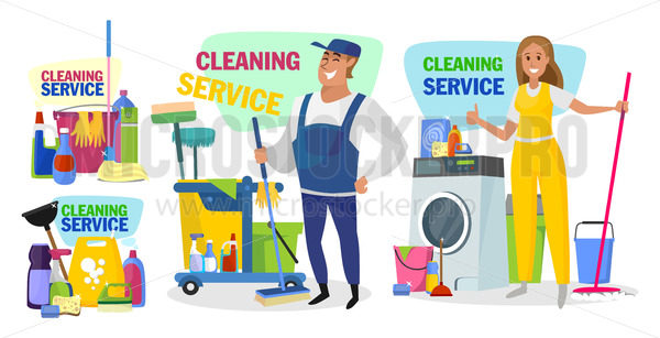 Poster of domestic cleaning service concept - Vector illustrations for everyone   Microstocker.Pro