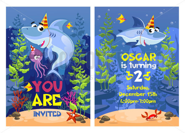 Shark party invitation with starfish, crab and devilfish - Vector illustrations for everyone | Microstocker.Pro