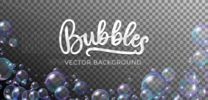 Soap bubbles in rainbow colors vector background - Vector illustrations for everyone | Microstocker.Pro