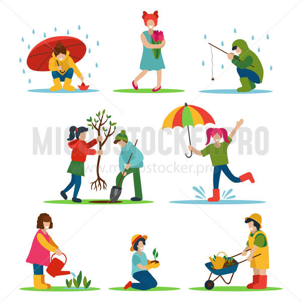 Spring activities and leisure of girl and boy outdoor - Vector illustrations for everyone   Microstocker.Pro