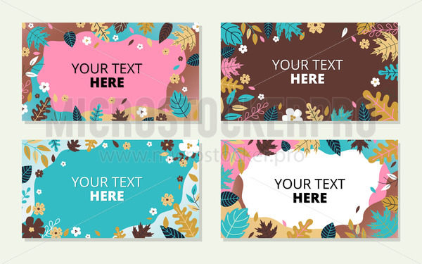 Spring or summer backgrounds with place for text set - Vector illustrations for everyone | Microstocker.Pro