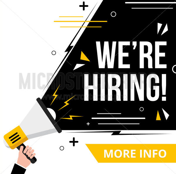 We are hiring banner or poster more info template - Vector illustrations for everyone | Microstocker.Pro