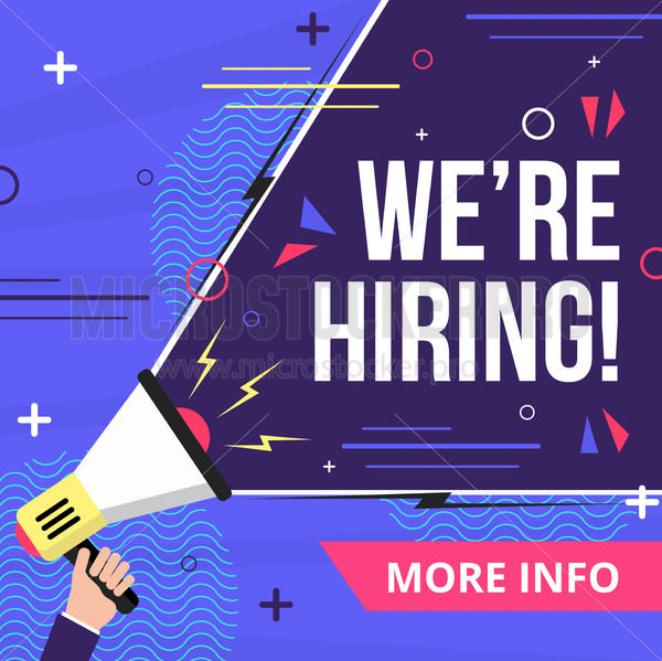 We are hiring colorful banner or post in blue color - Vector illustrations for everyone | Microstocker.Pro