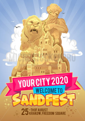 Welcome to sand festival banner or invitation - Vector illustrations for everyone | Microstocker.Pro