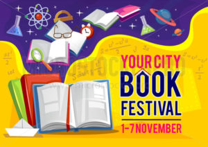 Your city book festival in September banner or flyer invitation - Vector illustrations for everyone | Microstocker.Pro