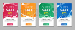 Abstract super sale banners with lettering set - Vector illustrations for everyone | Microstocker.Pro