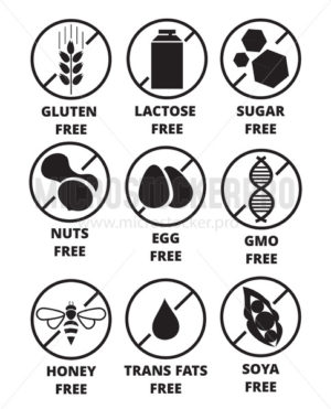 Allergen free labels set isolated on white - Vector illustrations for everyone | Microstocker.Pro