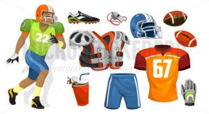 American football player supplies for competition - Vector illustrations for everyone | Microstocker.Pro
