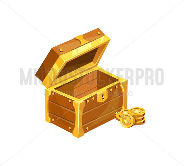 Antique wooden treasure chest icon with coins - Vector illustrations for everyone   Microstocker.Pro