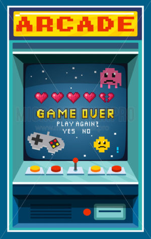 Arcade game over in retro style pixel art - Vector illustrations for everyone | Microstocker.Pro