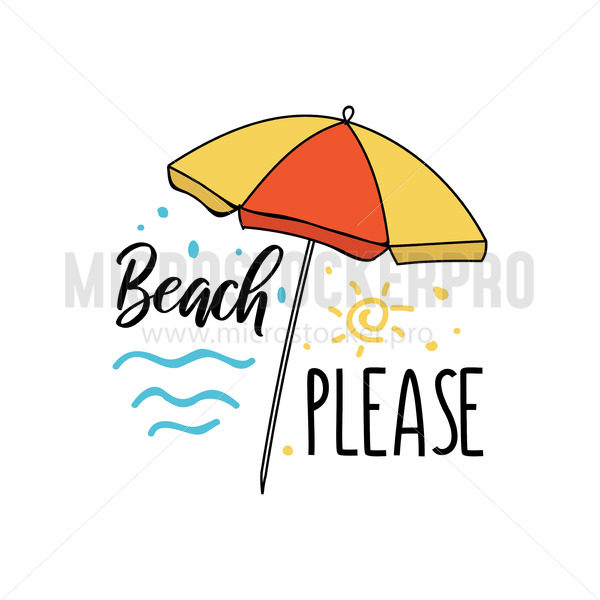 Beach please summer travel card or print - Vector illustrations for everyone | Microstocker.Pro