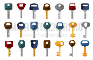 Big set of different silver and golden keys - Vector illustrations for everyone | Microstocker.Pro