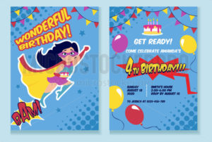 Birthday party invitation card with cute girl - Vector illustrations for everyone | Microstocker.Pro