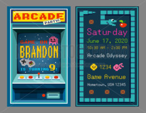 Birthday party invitation in retro style pixel art - Vector illustrations for everyone | Microstocker.Pro