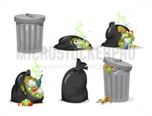 Black trash bags and garbage metal can set - Vector illustrations for everyone | Microstocker.Pro
