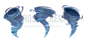 Blue water whirlwind swirling and moving upward set - Vector illustrations for everyone | Microstocker.Pro