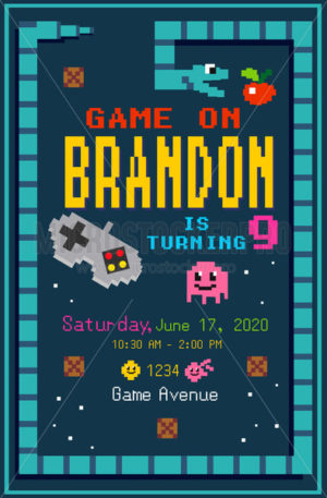 Bright birthday party invitation in pixel art - Vector illustrations for everyone | Microstocker.Pro