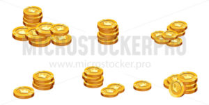 Bunches of golden coins isolated on white background - Vector illustrations for everyone | Microstocker.Pro