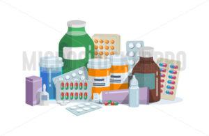 Capsules, blisters and glass bottles with medicine - Vector illustrations for everyone | Microstocker.Pro