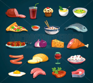 Cartoon food icons set isolated on dark background - Vector illustrations for everyone | Microstocker.Pro