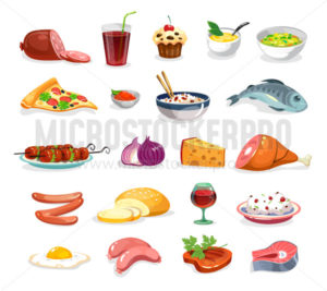 Cartoon food icons set isolated on white background - Vector illustrations for everyone | Microstocker.Pro