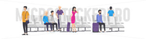 Cartoon people at airport waiting for airplane - Vector illustrations for everyone | Microstocker.Pro