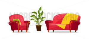 Cartoon sofa and armchair in living room - Vector illustrations for everyone | Microstocker.Pro