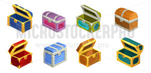 Cartoon treasure chests set on white background - Vector illustrations for everyone | Microstocker.Pro