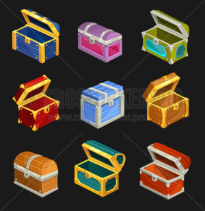 Cartoon wooden chests set isolated on dark background - Vector illustrations for everyone | Microstocker.Pro