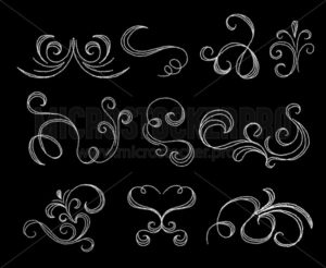 Chalk flourishes collection on dark background - Vector illustrations for everyone | Microstocker.Pro