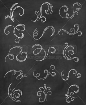 Chalk flourishes drawn on black chalkboard set - Vector illustrations for everyone | Microstocker.Pro