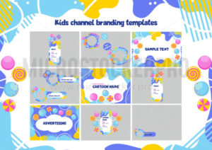 Children channel branding colorful template - Vector illustrations for everyone | Microstocker.Pro