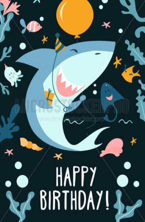 Childrens shark party invitation template - Vector illustrations for everyone | Microstocker.Pro