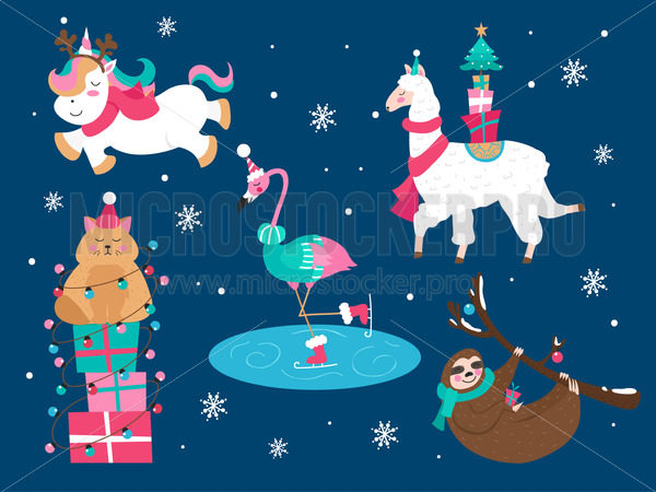 Christmas animals cat sloth unicorn flamingo set - Vector illustrations for everyone | Microstocker.Pro