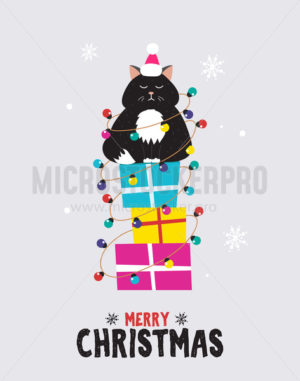 Christmas cute greeting card with happy cat - Vector illustrations for everyone | Microstocker.Pro